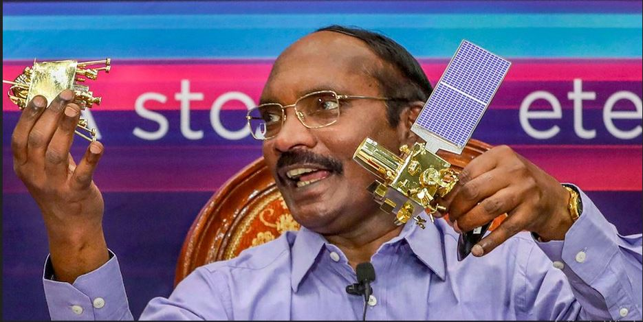 K Sivan with Chandrayaan-2 separation model.